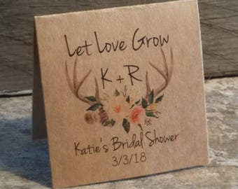 Personalized FUN SIZE Floral Antlers Bridal Shower Flower Seed Packet Favors Sow in Love Wildflower Seeds Wedding Favors Rehearsal Dinner
