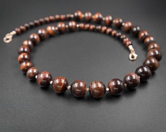 Red tiger eye and rose gold necklace red tiger eye Karen Hill tribe rose gold necklace, tiger eye jewelry, capricorn necklace, rose gold