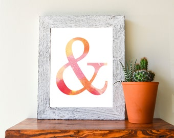 "Pink Watercolor Ampersand &, 8x10"" Wall Print, Instant Download"