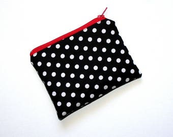 Small Zippered Pouch in Black and White Polka Dot Fabric