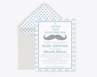 Little Man Mustache Baby Shower Invitation Template, Blue Chevron Baby Shower Invitation Boy, Editable PDF, Envelope Liners, DIY You Print