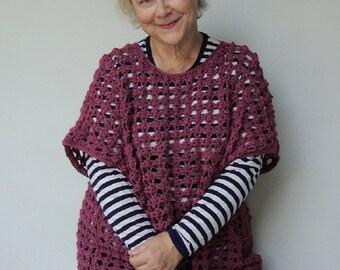 Crochet Sweater, Purple Sweater, Alpaca Sweater, Layering Knits, Crocheted Sweaters, Mauve Boxy Top, Open Stitch Sweater, Available in L/XL