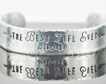 """Personalized Best Life Ever Bracelet with Secret Message; Scripture Cuff; JW Gift; Baptism Gift; Custom Made Bangle; Bible Quote; 5/8"""" x 6"""""""