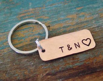 Couple Initials Keychain, Personalized, Hand Stamped, Copper Keychain, 7th AnniversaryGift, Gift for Husband, Gift for Wife, Copper Gift