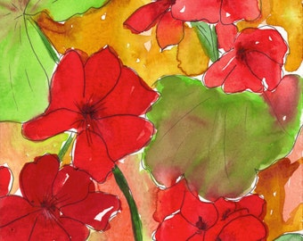 Geranium Watercolor Note Cards Box of 10