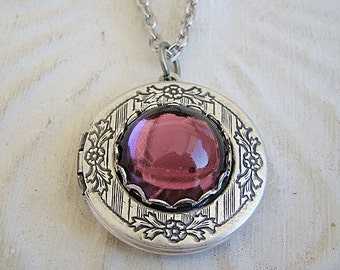 Amethyst Silver Locket Valentines Day Wedding Bride Bridesmaid Wife Sister Mother Daughter Birthday Anniversary Photo Pictures - Valentina