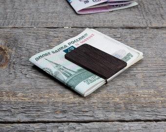 Black wood money clip, wooden wallet, wood card holder, Wenge wood slim wallet for men. Monogrammed groomsmen gift, personalization bespoke