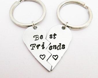 Best Friends Broken Heart Keychain, BFF key chains set, best friends gift, half heart, best friends key ring, besties keyrings, aluminum