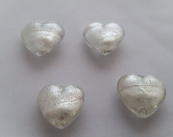 Venetian Glass 18x19mm Hearts