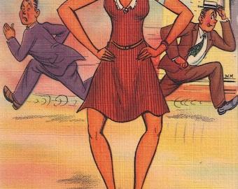 Humorous Postcard  Bow Legged Woman    1940s  Vintage Postcard