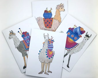 Llama llama! note cards, whimsical gift for knitters or fiber lovers