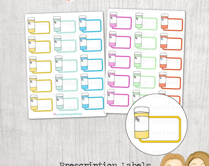 Planner Stickers- Prescription Labels- Perfect for the Erin Condren Life Planner