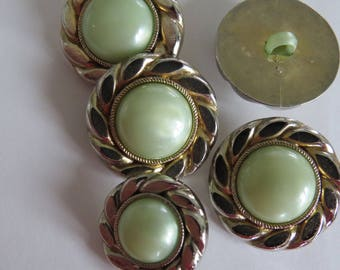 Button * vintage gold and pale green