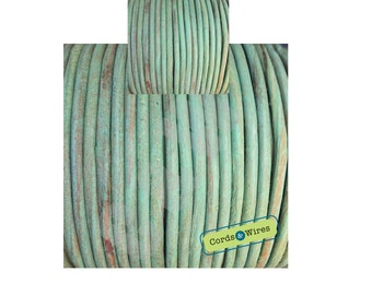 Almond Green vintage effect leather cord 2 metersx3mm