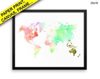 World Map Canvas Art World Map Printed World Map Framed Art World Map watercolor world continents Printed Poster World Map Canvas Art print