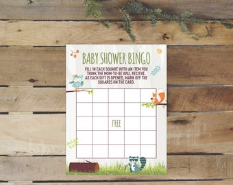 Woodland Creatures Baby Shower Bingo