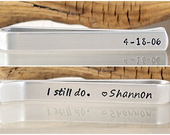 Anniversary Gift for Men - Personalized Tie Clip - 10 Year Anniversary - 25 Year Anniversary - Mens Wedding - Personalized Gifts for Him