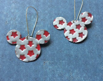 Mouse earrings, hand painted mouse earrings, patriotic Mickey
