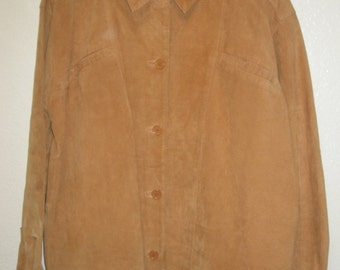 ORVIS Women's 100% Genuine Leather Fully Lined Long Sleeve Button Down Pocketed Ranch/Country Very Thin Jacket Size Small