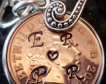 19th lucky penny Wedding Anniversary Gift 1999 Penny personalised with initials love token for girlfriend boyfriend lover marriage 19th