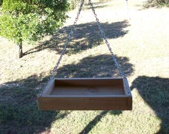 Small Cedar Wood Hanging Platform Tray Bird Squirrel Feeder