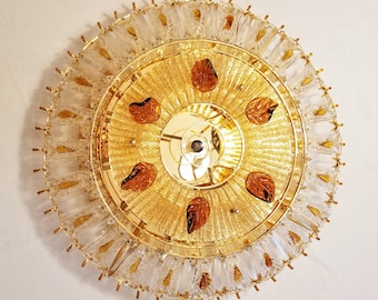 "Vintage Murano Glass Large Flush Mount Chandelier, Ice Glass, Glass Amber Leaves, Mid Century, Crystal Baguettes, 26"" Sunburst Wall Decor"