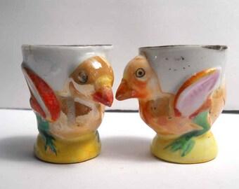 Vintage Chicken Hen Egg Cups x2