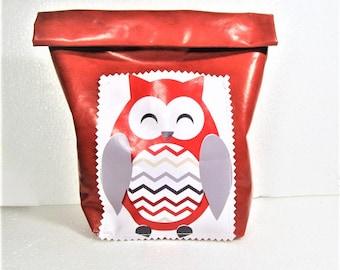 neighbors bureauxSac to snack, lunch, kids, kindergarten bag, school, back to school, lunch, red, owl, oilcloth