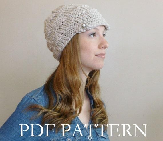 Instant Download Knit Hat Pattern Womens Knit Newsboy Knitting