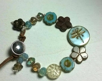 Beaded boho style pearl bracelet
