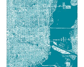 Miami Cityscape Art Print / Florida City Map Wall Art / 8x10 / Choose your Color