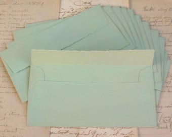 Vintage Faded Soft Green Laid Texture Envelopes Deckled Edge Flaps No Glue (12)