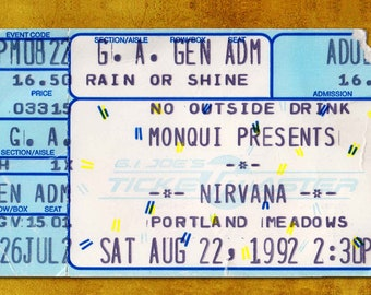 Nirvana  Concert Ticket Stub, Portland OR 1992 No on Measure 9 Benefit for gay rights