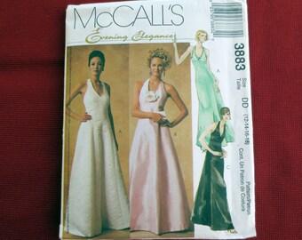 Evening Halter Dress Uncut Pattern, McCalls Evening Elegance 3883, Size 6-12 OR 12-18