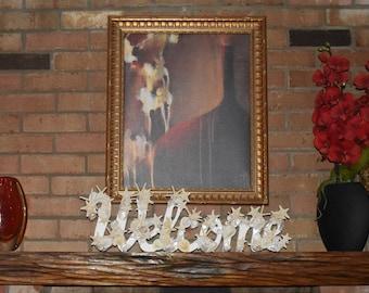 Coastal Wedding Centerpiece. Welcome Starfish hanging Sign, Beach theme Centerpiece, Welcome beach decor