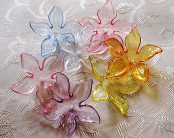 SALE Acrylic Lucite Flower Bead Cap Beads Transparent 28mm Choose Your Colors 421