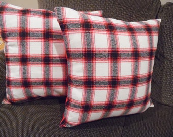 18x18.FLANNEL plaid. Red.Black.Grey flannel.SOFT.RED cotton twill.Red decor.Winter decor.Flannel.Accent Pillow.toss Pillow.Throw Pillow
