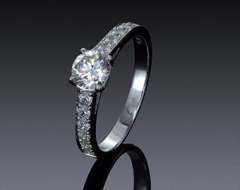Zircon Ring Engagement 925 sterling Silver 14K 18K Yellow White Gold with Swarovski Accents Gift idea SKU1845