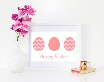 DIGITAL DOWNLOAD, Happy Easter, Easter, Pink Easter, Easter Print, Easter Art, Pink Easter Eggs, Easter, Easter Printable, Easter Eggs Art