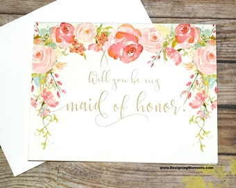 Will You Be My Maid Of Honor Card, Antique Wedding Maid Of Honor Card, Vintage Be My Maid of Honor, Wedding Card, Bridesmaid Card - HEIRLOOM