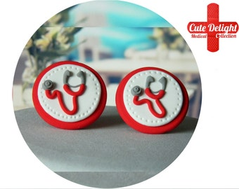 Red Stethoscope brooch, cute stethoscope, red stethoscope, fimo stethoscope,polymer clay stethoscope,handmade stethoscope,custom stethoscope