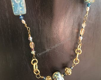 Picasso Lamp work bead, with Amber & Swarovski Necklace by Denise's Creations
