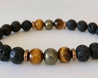 Money Maker, Mens Bracelet, Lava Rock, Tiger Eye, Pyrite, Yoga Bracelet, Meditation Bracelet, Crystal Healing Bracelet, Abundance,Prosperity