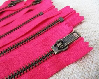 7inch - Fuchsia Pink Metal Zipper - Brass Teeth - 5pcs