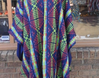 Multicolored Tribal Print Cape