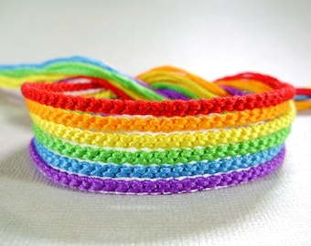 Handmade Rainbow Friendship Bracelet Set - Six Bright Bracelets