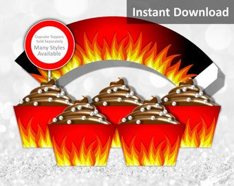 Fire Cupcake Wrappers Instant Download, Firefighter, Rock Star, Heavy Metal, Black, Red, Yellow, Party Decorations