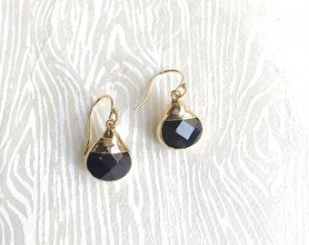 Black Earrings Black Onyx Earrings Black and Gold Dipped Drop Earrings Simple Earrings Onyx Jewelry  Simple Onyx Earrings Black Janna Conner