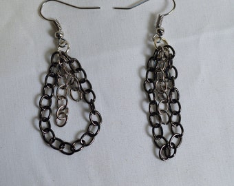 Silver and black chain earrings