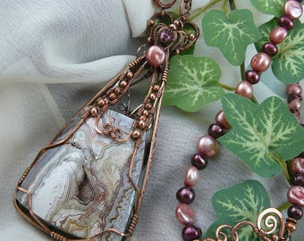 Wirewrapped Agate Pendant ~ Wirewrapped Stone Pendant ~ Crazy Lace Agate Pendant ~ Agate Pendant ~ Wirewrapped Pearl Necklace ~ Autumn Color